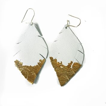 Three Little Indians Earrings - Small White | Gold Leaf