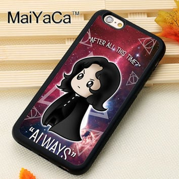 Snape Always Harry Potter Cartoon Printed Soft TPU Shell Phone Case For iPhone 6 6S Plus 7 7 Plus 5 5S 5C SE 4S Cases Back Cover