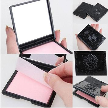 New Arrival Rose mini pocket makeup mirror cosmetic compact Single sided mirrors Makeup Cleaning Oil Absorbing Face Paper