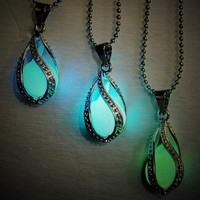 Glow in the Dark Water Drop Necklace