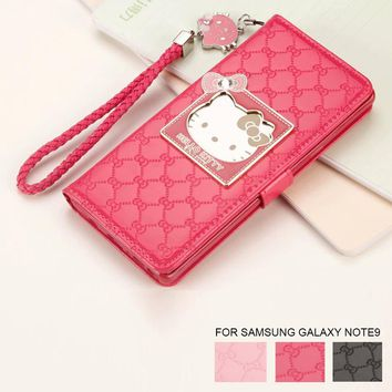 Fashion Women For Samsung Galaxy Note8 9 S8 S9 Plus Phone Case Luxury Wallet Hello Kitty Magnetic Flip PU Leather Note9 Cover