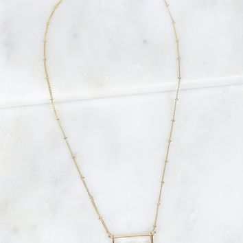Square Stone Necklace Gold