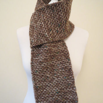 Hand-knit, Unisex, Long, Textured and Chunky Scarf in Multi-tonal Brown with Blue and Green accents