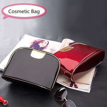 eTya Fashion Travel Cosmetic bags Women Small Big Ladies Make up Patent leather Waterproof Pouch Wash Toiletry Bag Organizer