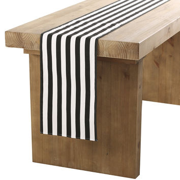 "Ling's moment Classical Durable Black and White Striped Table Runner - Cotton Canvas Fabric Table Top Decoration 12"" x 108"" / 9 FT 12""x108"" 9 FT"