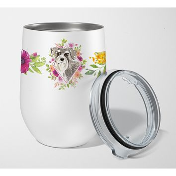 Schnauzer #1 Pink Flowers Stainless Steel 12 oz Stemless Wine Glass CK4215TBL12