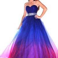 NobleFans Sweetheart Floor Length Purple Tulle Ball Gown Prom Dress