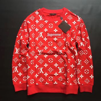 Louis Vuitton x Supreme Fashion Red Top Sweater Pullover Sweatshirt