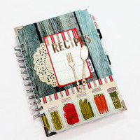 Handmade Recipe Book, Blank Family Recipe Book, Blank Recipe Book, 100 lined sheets
