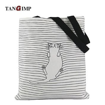 TANGIMP 2017 Cute Striped Napping Cat Cotton Canvas Handbags Eco Daily Female Single Shoulder Shopping Tote Women Beach Bags