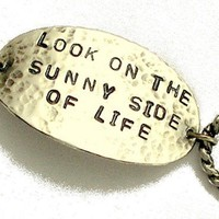 VALENTINES  - personalized hand stamped sterling silver promise bracelet.- Look on the sunny side of life.