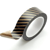 Washi Tape Paper Masking Tape - Black Copper Stripes