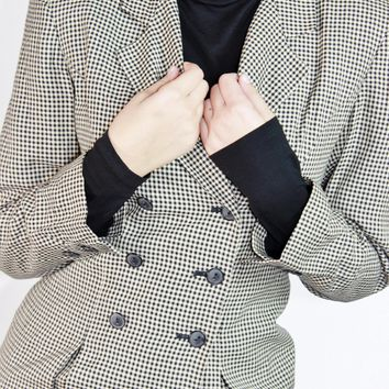 Gingham Fitted Blazer / Size 2