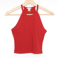 Sleeveless Crop Top - Dark Red