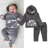 2PCS Newborn Infant Baby Boy Girl Clothes Long Sleeve Hooded Top Pant Outfit Autumn Winter Bebek Clothing Set