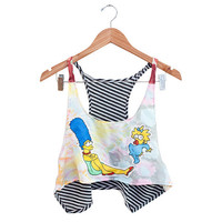 Simpsons Marge n Maggie on 60s WaterColor fabric size M