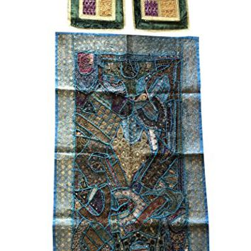 Mogul Interior Vintage Decorative Indian Banjara Tapestry With Cushion Cover Patchwork Zardozi Wall Throw