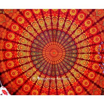 Latest Design Maroon Indian Mandala Tapestry in Peacock Print