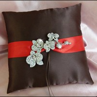 Wedding Ring Pillow Orchid Brooch and Chocolate Brown and Persimmon