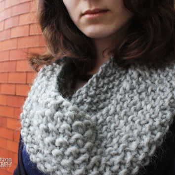 Grey Handknit Cowl 100% Wool - Choose your favorite color