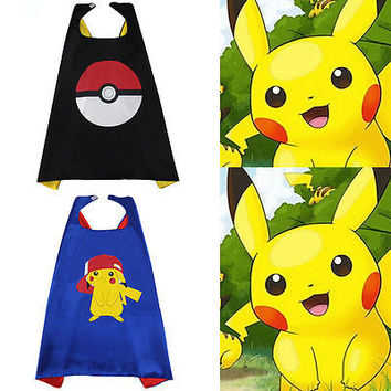 Halloween kids superhero capes baby Pokemon Pikachu costume boys girl children birthday wear gift Party supplies hero cosplay
