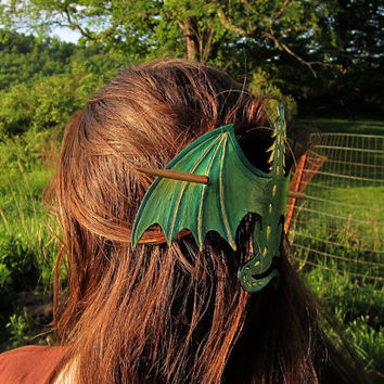 Green Dragon Hair Stick, Leather Barrette, Renaissance Faire or Festival Costume Accessory