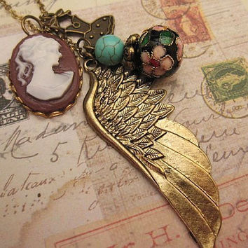 Wing Necklace with cameo dress turquoise stone by trinketsforkeeps