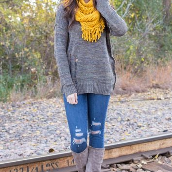 Distressed Open Back Sweater