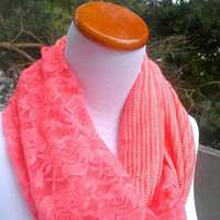 Coral Lace Infinity scarf, fashion accessory