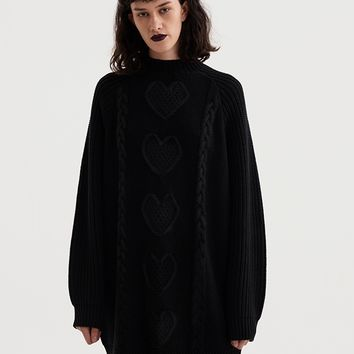 Lazy Oaf Dark Sweetheart Cable Knit Jumper
