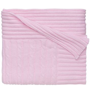 Personalized Classic Cotton Cable Knit Blanket (Pastel Pink)