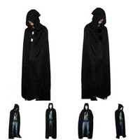 Emei Vampire Hooded Cloak Wicca Robe Medieval Witchcraft Cape Halloween Costumes Dress Black [9222177924]