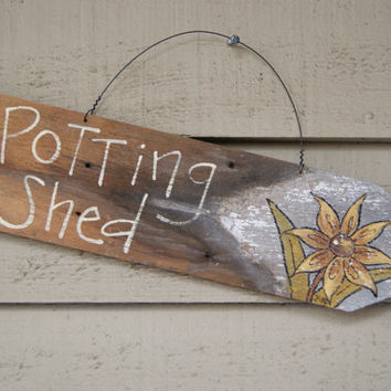 Shabby Spring Sign~ Hand Painted Garden Sign~ Picket Fence Post Sign