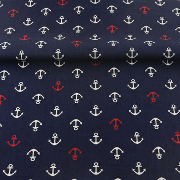 Dark Blue Printed Sea Anchors Designs Patchwork Twill Home Textile Scrapbooking 100% Cotton Fabric Decoration Sewing Tissue Tela