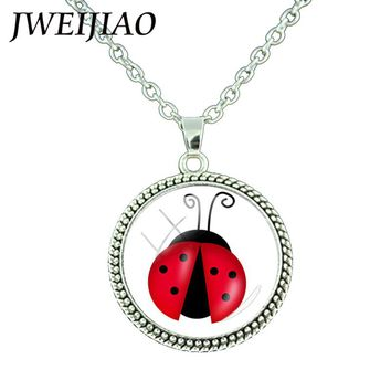 JWEIJIAO Lovely Cartoon Ladybug Necklace Round Pendant 25mm Glass Gems Dome Neck Chains For Women Girls Gift JEWELRY LB41