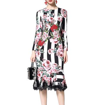 Roiii Autumn Women Dress Stripped Embroidery Rose Floral Mermaid Lace Sundress Print Long Sleeves O Neck Mid-Calf Party Vestidos