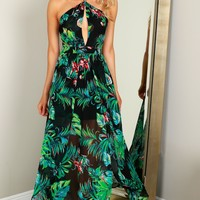 High Neck Tropical Maxi Black/Green
