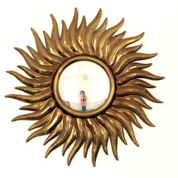 Large Vintage Gold Sunburst Mirror - Brass Starburst Convex Mirror - Hollywood Regency