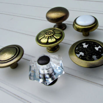 Eclectic Collection of 6 Antique Brass Knobs by TheDoorStop