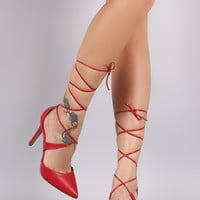 Breckelle Pointy Toe Lace Up Stiletto Pump