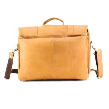 Tan Leather Flap Over Briefcase