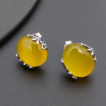 100% 925 Silver Yellow Stone Stud Earring 51