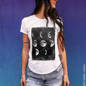 Phases of the Moon, It's Just a Phase, Moon Phase, Moon Shirt, Astronomy, Astrology, Boyfriend t-shirt, womens tshirt, Gift for Her, Tops and Tees