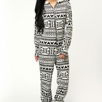 Ashella Lightweight Aztec Print Hooded Onesuit