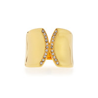 Inverso Gold-Plated Crystal Ring - Vita Fede