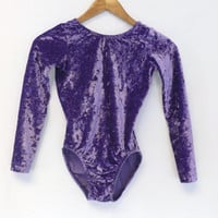 Vintage 80s 90s Purple Crushed Velvet One piece Bodysuit Leotard Dance Apparel Bodysuit Aerobics wear Unitard Top Hipster Small Punk Rocker