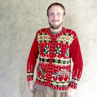 Textured Trees Red Chunky Knit Tacky Ugly Christmas Sweater