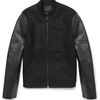 Alexander WangBonded-Leather and Wool-Blend Bomber Jacket|MR PORTER