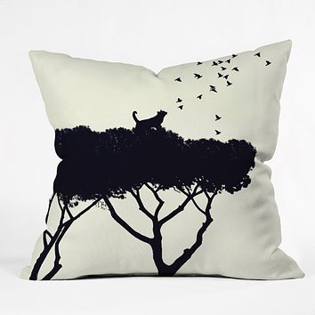 Belle13 Cat and Birds Throw Pillow
