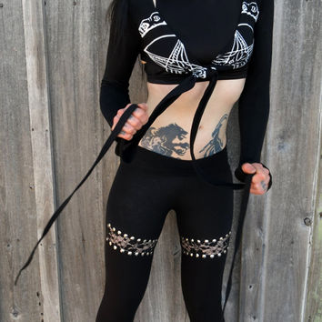 Hell Couture Black & White Pentagram Hooded Tie Front Crop Top